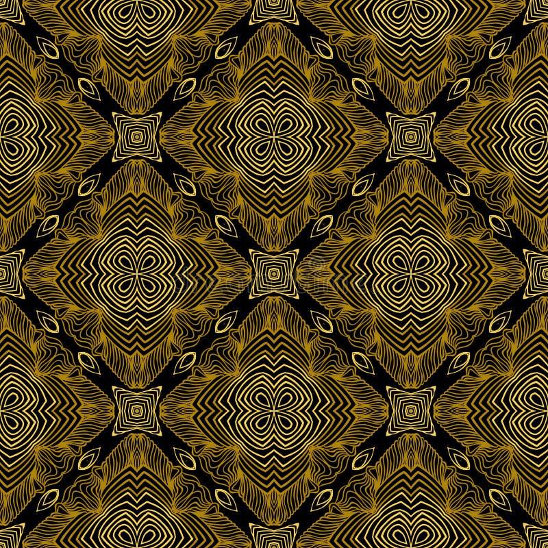 Modèle linéaire dans le style d'art déco en vieil or illustration de vecteur