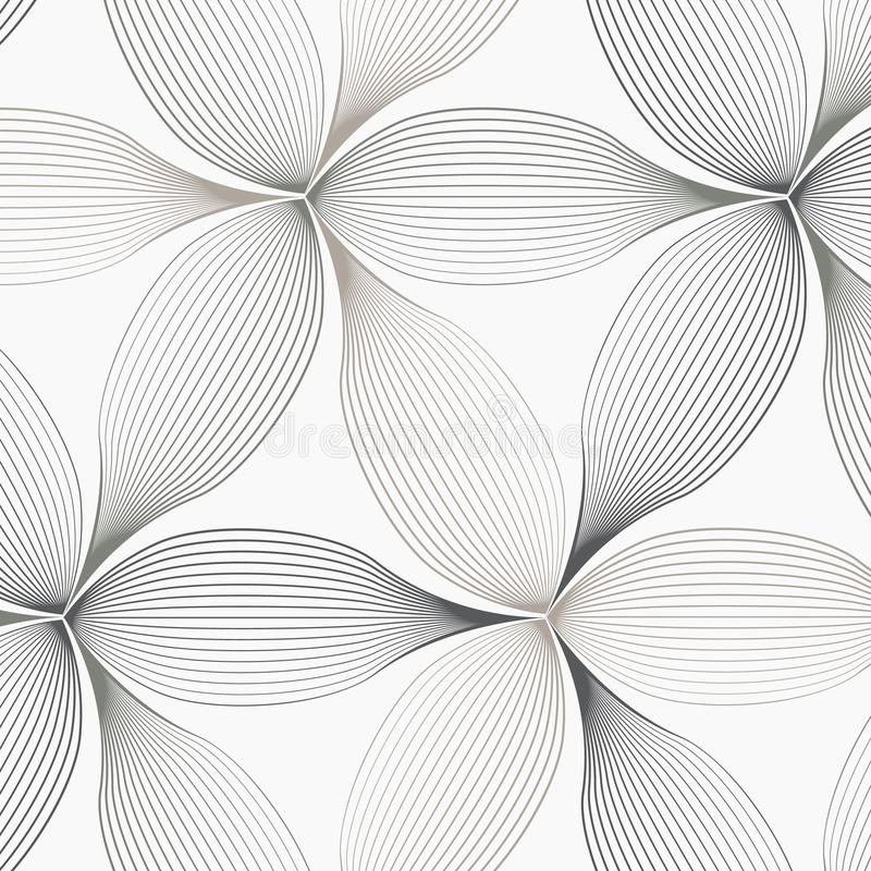 Modèle linéaire de vecteur, répétant le résumé une feuille linéaire chacune entourant sur la forme d'hexagone illustration stock