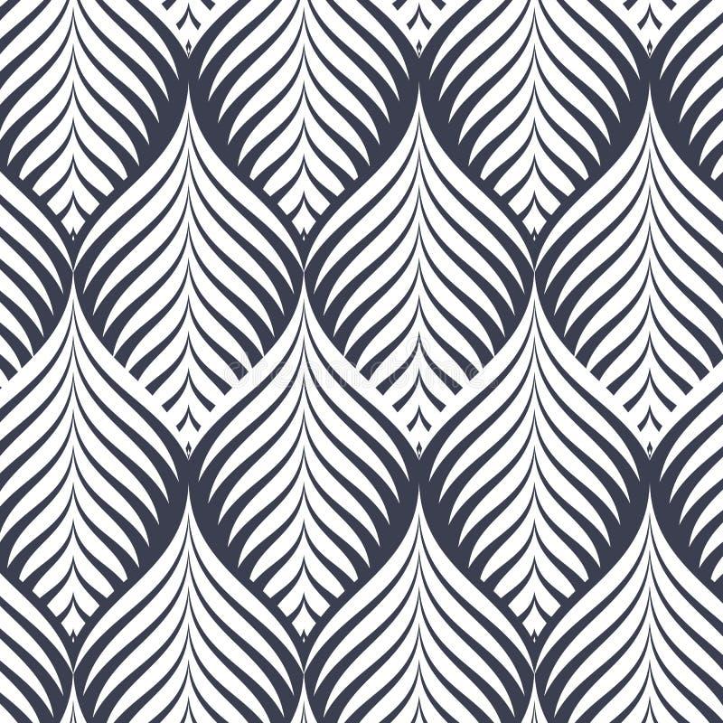 Modèle linéaire de vecteur, répétant les feuilles abstraites, ligne grise de feuille ou fleur, florale graphique nettoyez la conc illustration libre de droits