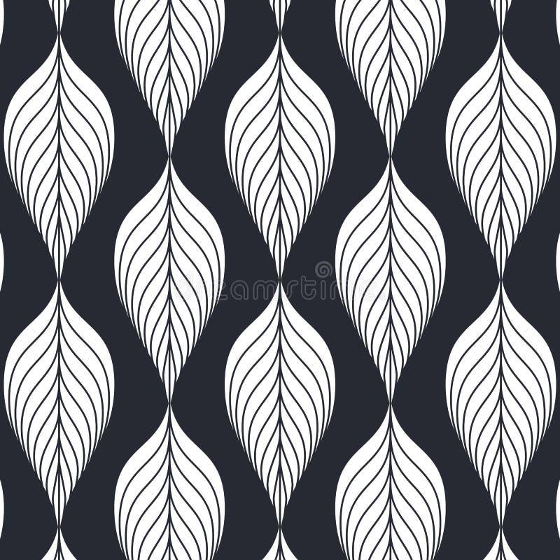 Modèle linéaire de vecteur, répétant les feuilles abstraites linéaires sur la guirlande illustration de vecteur