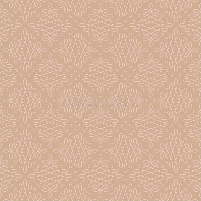 Modèle linéaire sans couture neutre de Flourish illustration stock