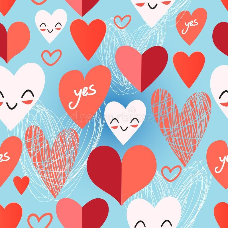 Modèle lumineux de différents coeurs illustration stock