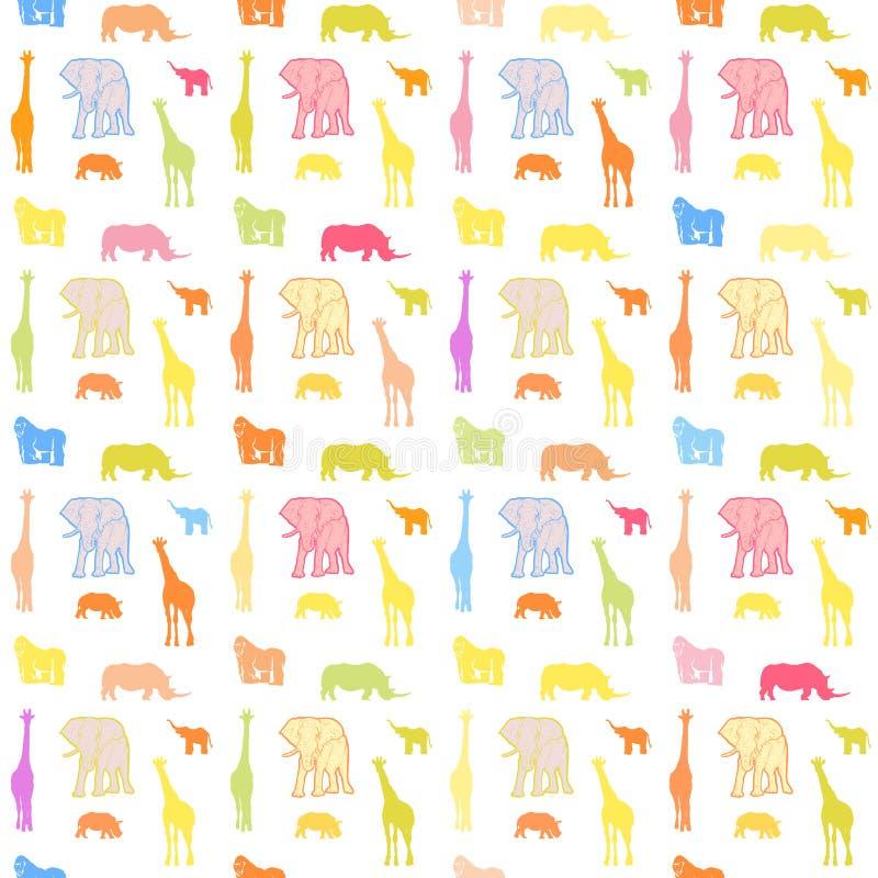 Modèle lumineux sans couture d'animaux sauvages illustration stock