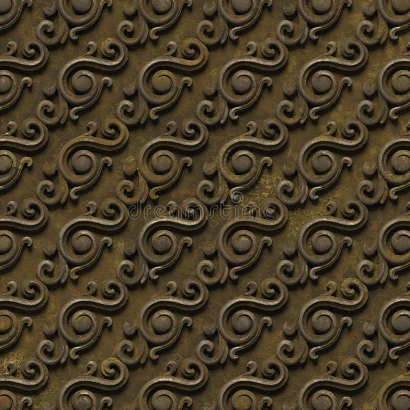 Modèle métallique bas-relief des textures sans couture, se composant de divers éléments des ornements architecturaux et décoratif illustration stock