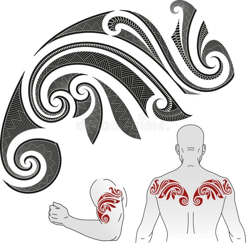 Modèle maori de tatouage - caméléon illustration libre de droits