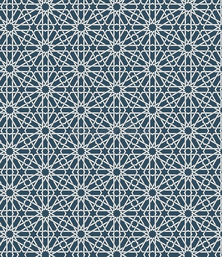 Modèle marocain islamique sans couture Ornement géométrique arabe Texture musulmane Vintage répétant le fond Bleu de vecteur illustration de vecteur