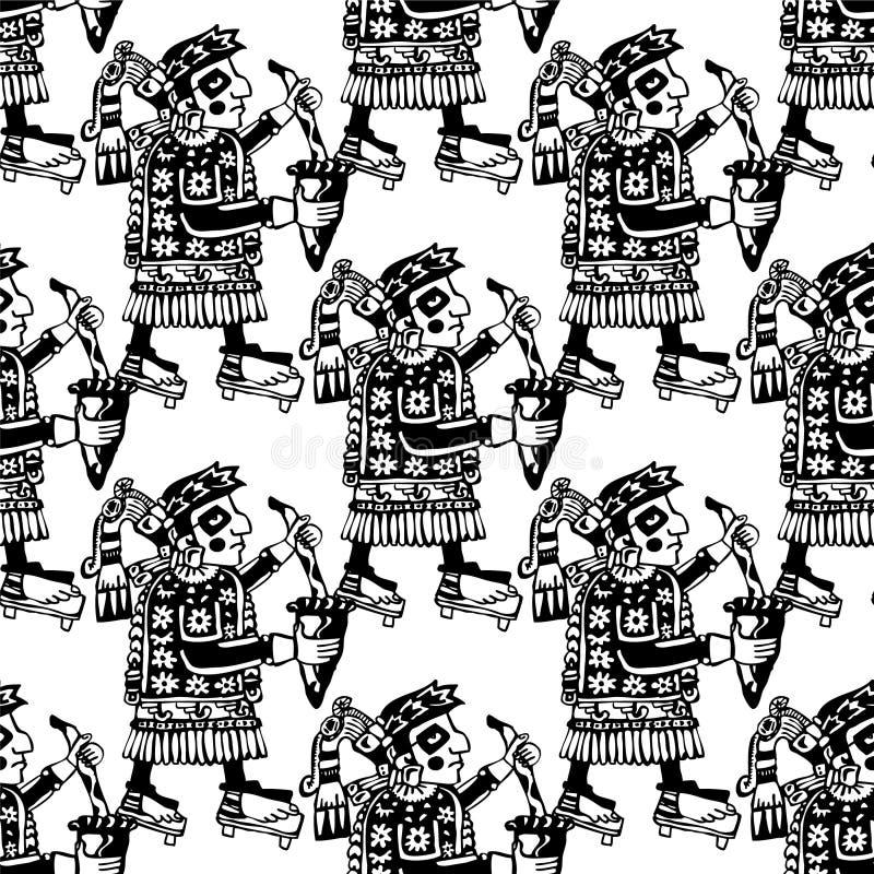 Modèle maya et aztèque sans couture de totems illustration de vecteur