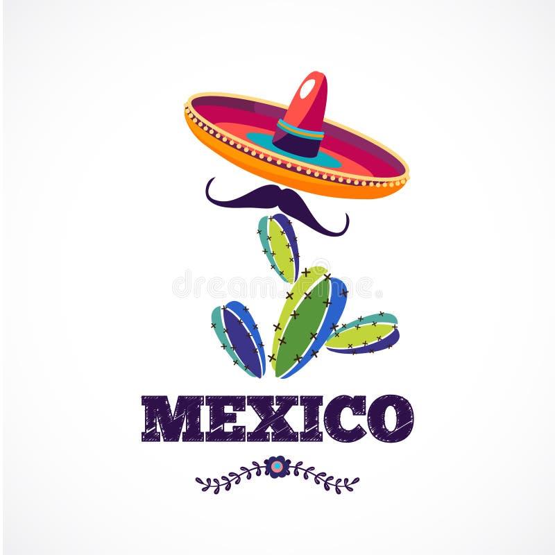 Modèle mexicain, affiche de vecteur de vacances illustration stock