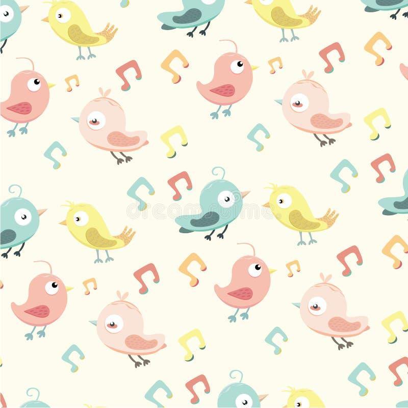 Modèle mignon avec de petits oiseaux et note de musique illustration stock