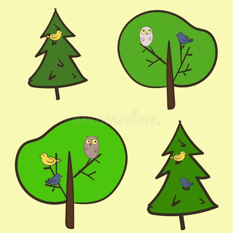 Modèle mignon avec des oiseaux sur les arbres illustration libre de droits