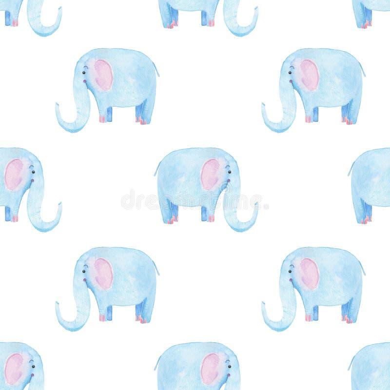 Modèle mignon d'éléphant Fond sans couture d'aquarelle avec le personnage de dessin animé bleu d'éléphant Conception minimale d'i illustration de vecteur