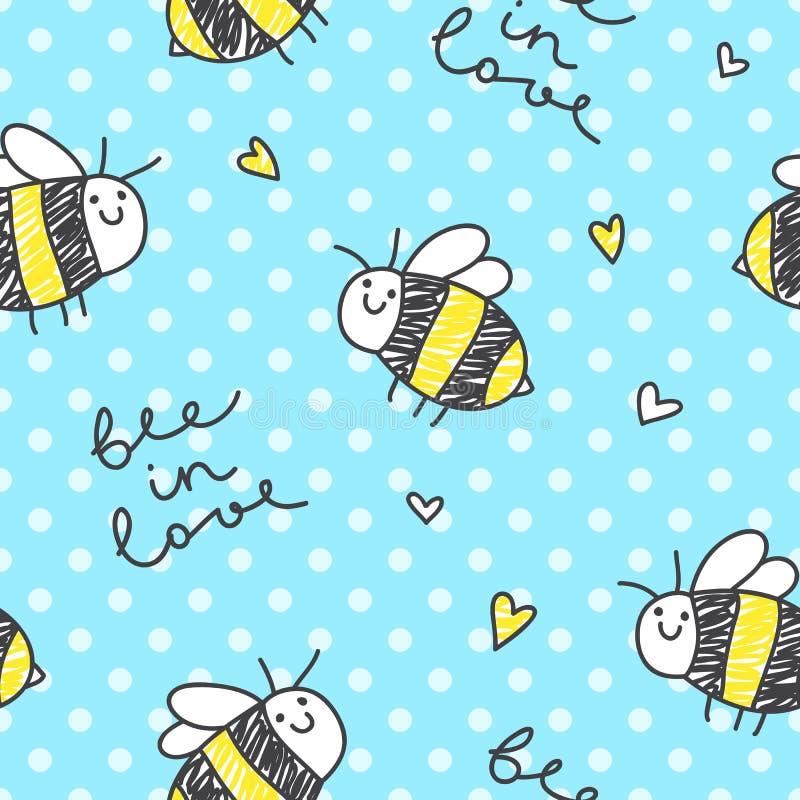 Modèle mignon d'abeilles illustration stock