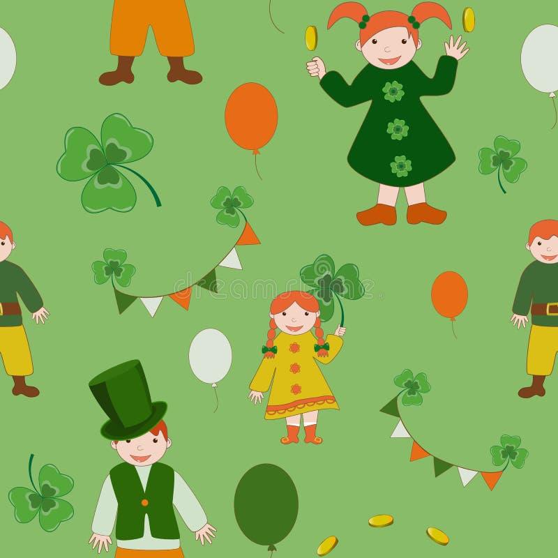 Modèle mignon d'enfants de jour de Patricks de saint illustration de vecteur