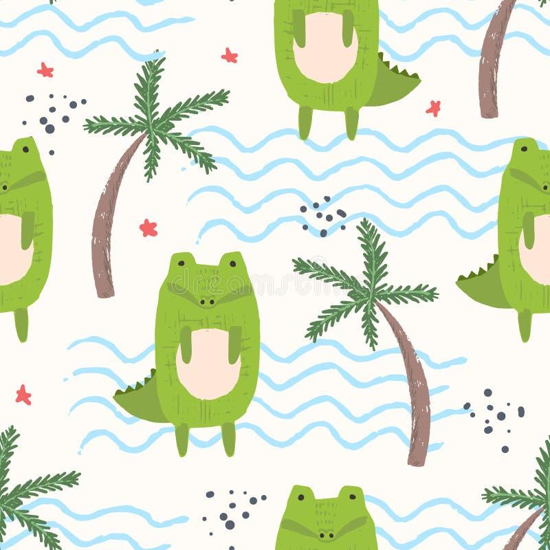 Modèle mignon de bande dessinée avec des crocodiles, paumes, vagues illustration libre de droits