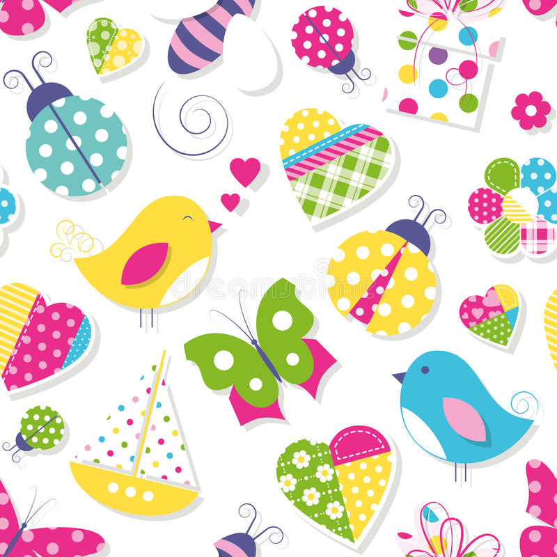 Modèle mignon de jouets et d'animaux de fleurs de coeurs illustration de vecteur