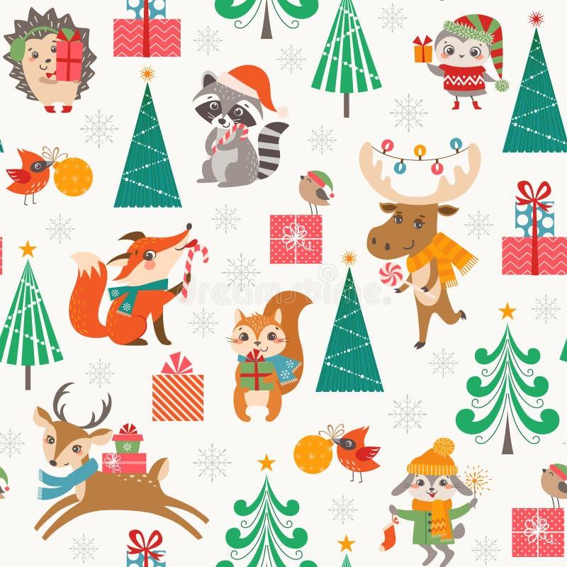 Modèle mignon de région boisée de Noël avec les animaux heureux de bande dessinée illustration stock