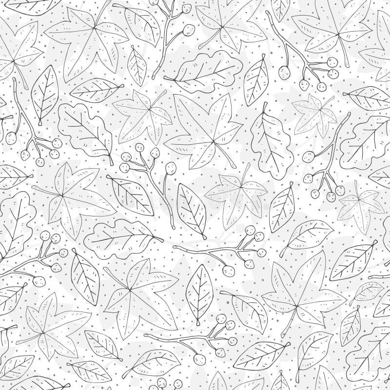 Modèle mignon de répétition sans couture d'automne avec des feuilles, des brindilles et des éléments décoratifs Vecteur saison illustration stock
