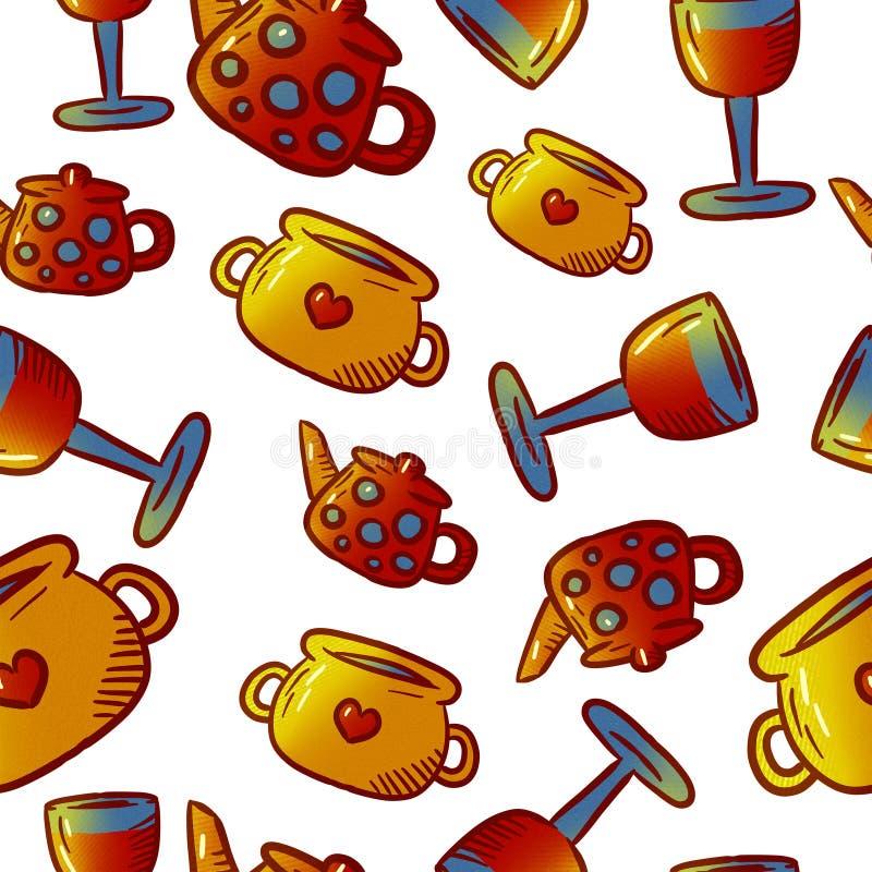 Modèle mignon des illustrations de vaisselle de cuisine et d'ustensiles Éléments pour la conception illustration stock