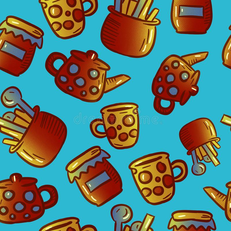 Modèle mignon des illustrations de vaisselle de cuisine et d'ustensiles Réception de thé photographie stock libre de droits