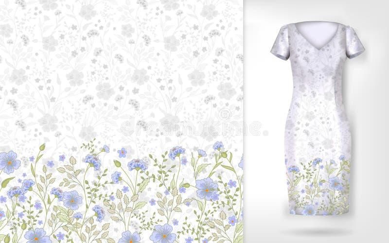 Modèle mignon en petites fleurs simples Le fond sans couture et la frontière sans couture sur le dossier différent pose Un exempl illustration libre de droits