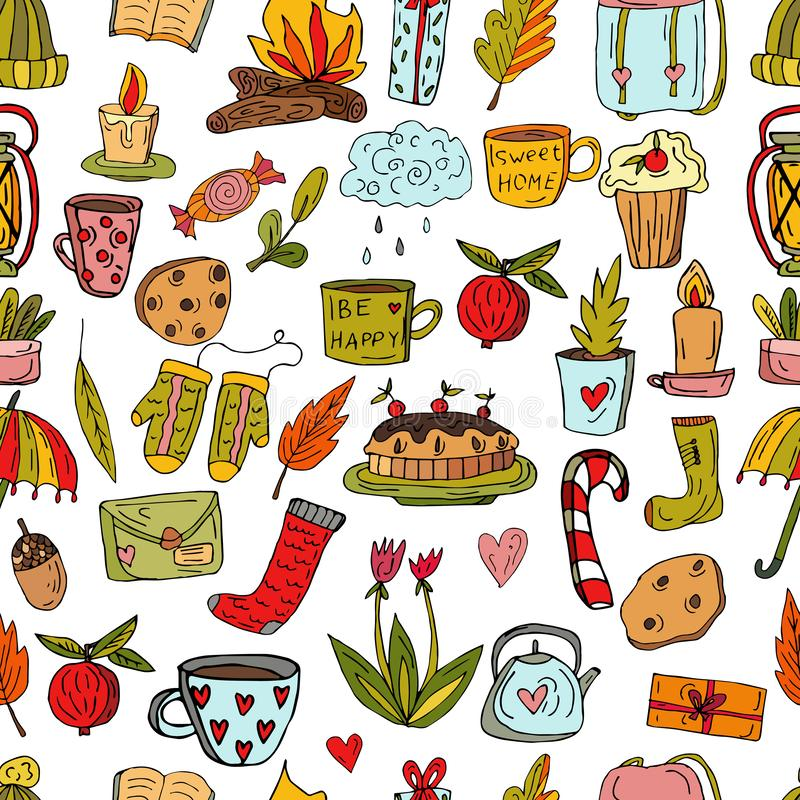 Modèle mignon sans couture dans le style scandinave Tarte aux cerises, chapeau tricoté, tasse avec les oeufs argentés, théière, f illustration de vecteur