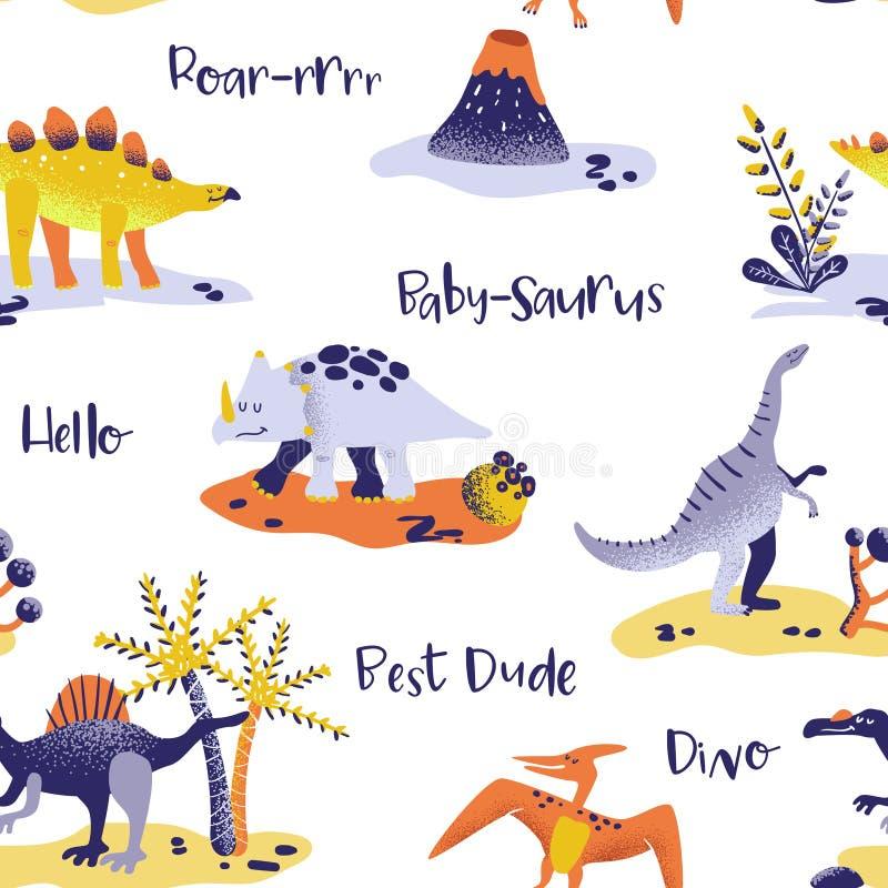 Modèle mignon sans couture de dinosaures de bande dessinée texture de fond de Dino de bébé Contexte pour le textile, tissu, copie illustration libre de droits