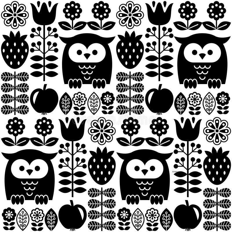 Modèle mignon sans couture scandinave avec le hibou et la fleur, inspirés par l'art populaire suédois et finlandais, style nordiq illustration de vecteur