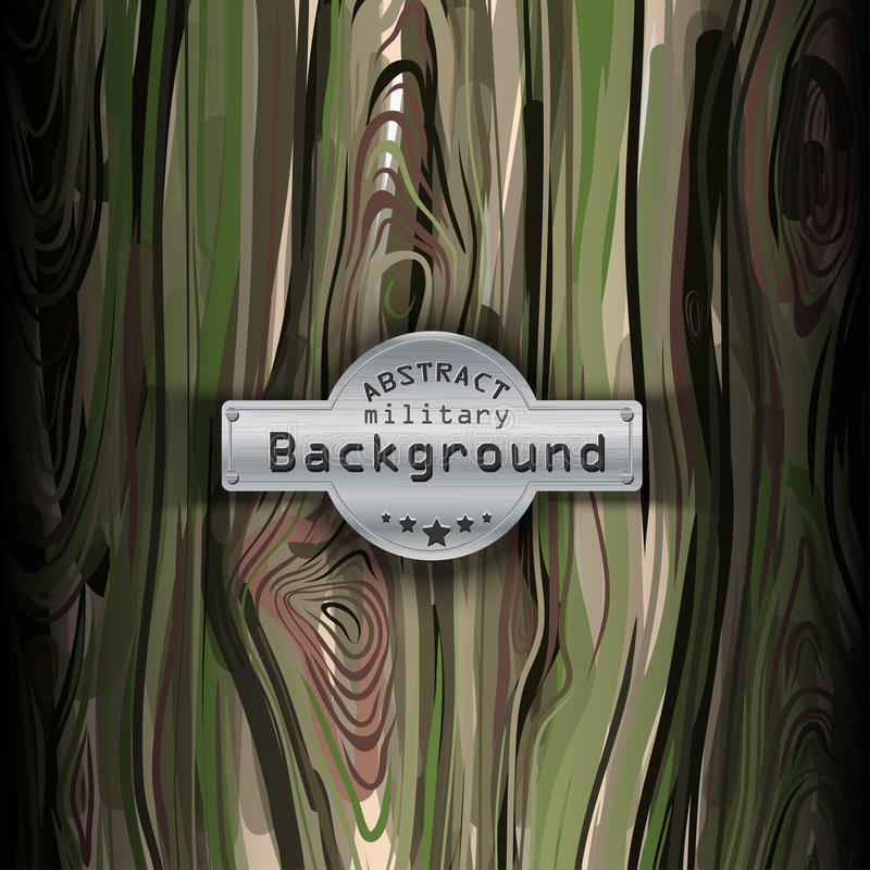 Modèle militaire de camouflage avec le fond en bois illustration de vecteur
