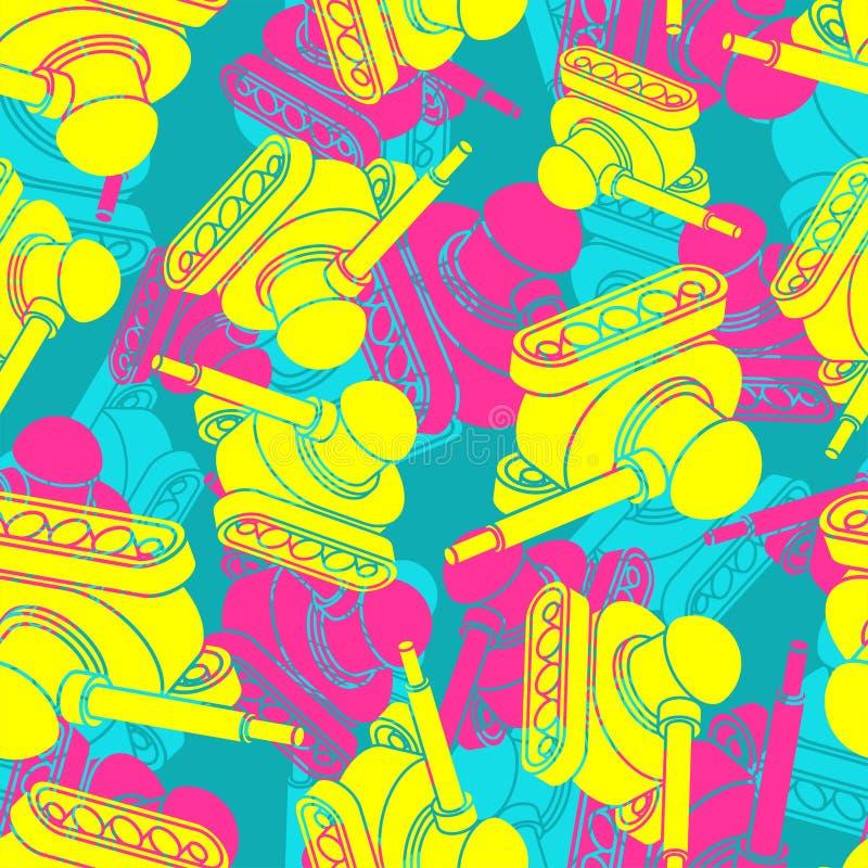 Modèle militaire lumineux de camouflage de réservoir sans couture fond kaki coloré de machine de guerre ornement protecteur d'arm illustration libre de droits