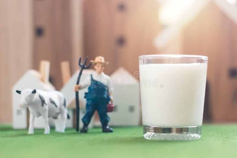 Modèle miniature de chiffre d'agriculteur et de vache avec du lait en verre sur l'herbe de simulation photos libres de droits