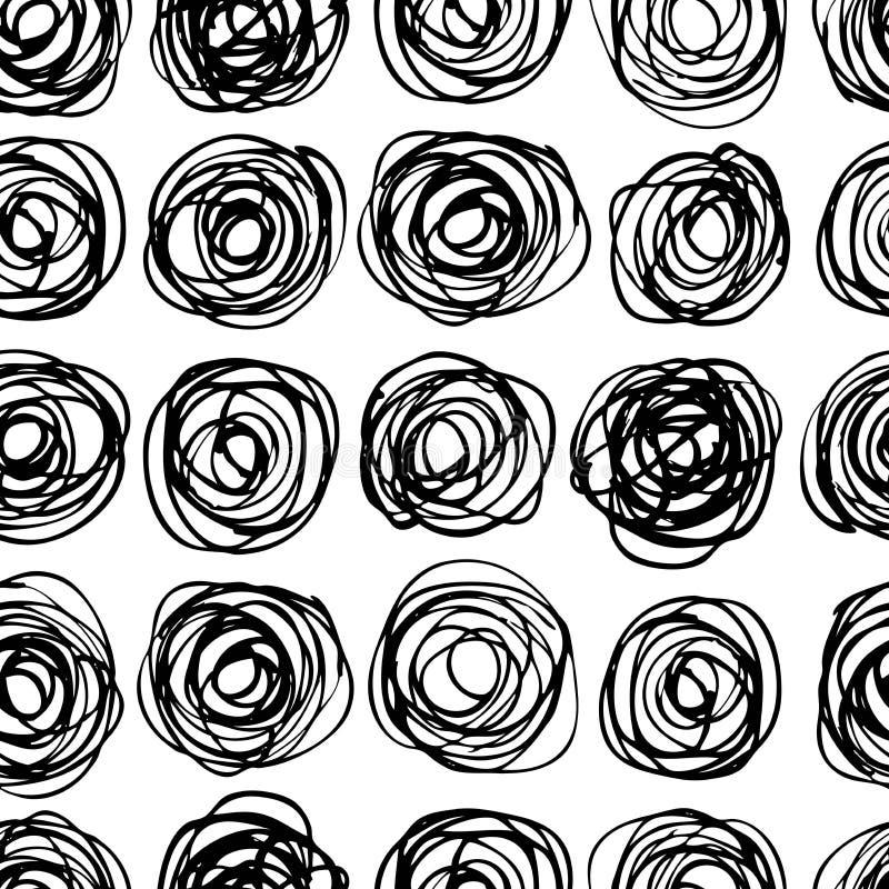 Modèle moderne à la mode sans couture de cercle de vecteur D malpropre monochrome illustration de vecteur