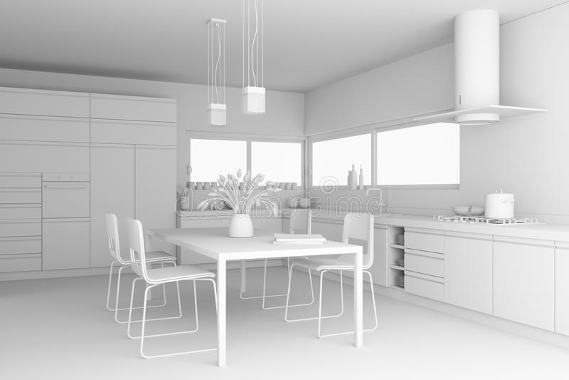 Modèle moderne de cuisine de conception intérieure illustration stock