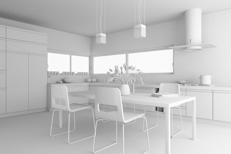 Modèle moderne de cuisine de conception intérieure illustration de vecteur