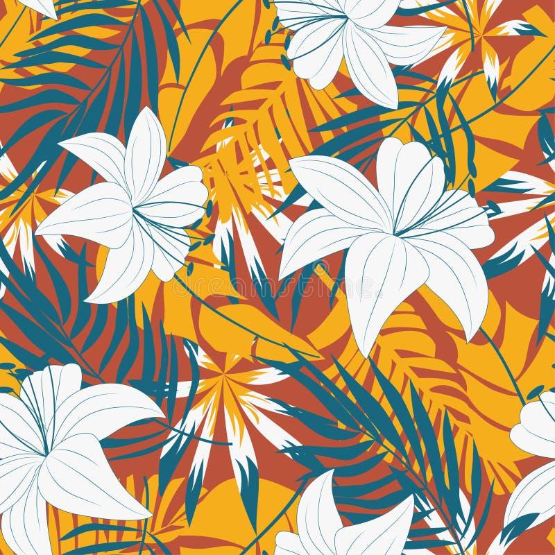Modèle moderne et transparent avec plantes tropicales Design de texture, textile, tissu, impression Plantes originales Léa tropic illustration de vecteur