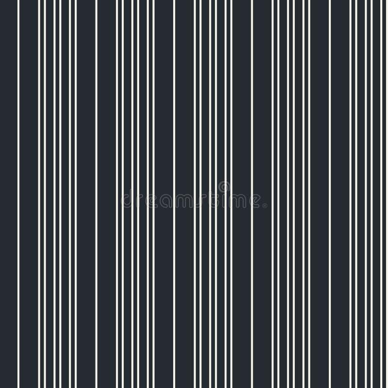 Modèle moderne vertical sans couture de rayure dans le blanc avec un fond noir Répétez l'élément monochrome de conception pour de illustration de vecteur