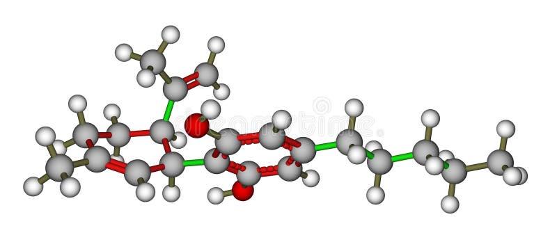 Modèle moléculaire de Cannabidiol illustration stock