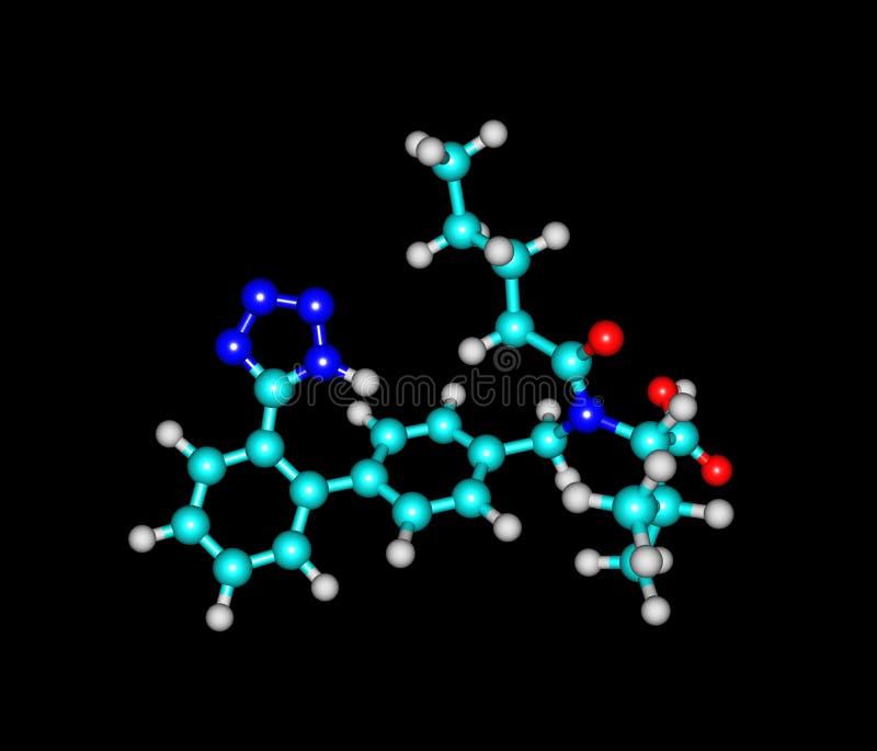 Modèle moléculaire de Valsartan d'isolement sur le noir illustration libre de droits