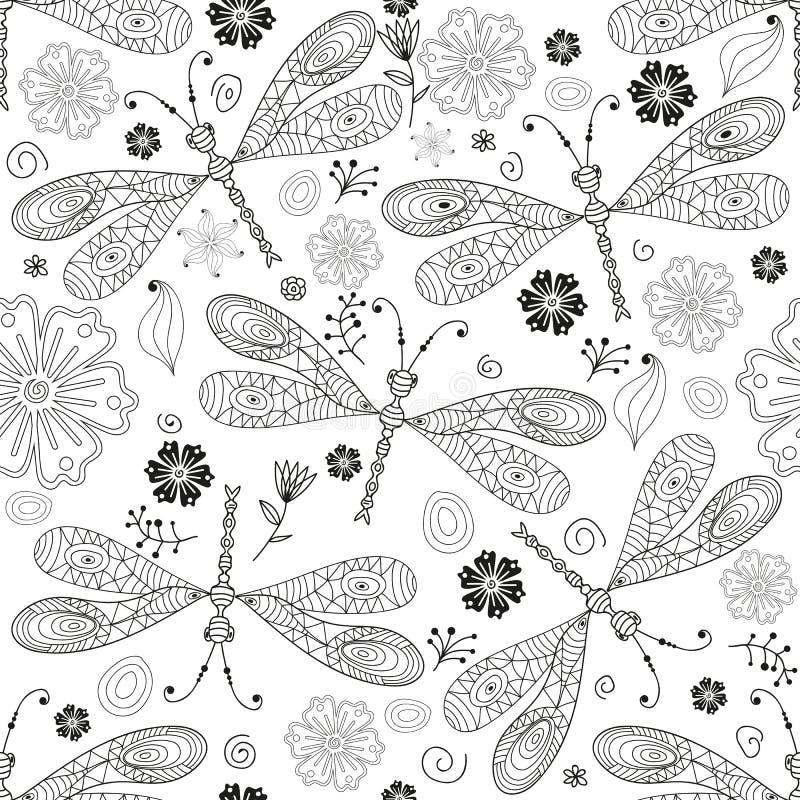 Modèle monochromatique sans couture avec des gragonflies illustration libre de droits