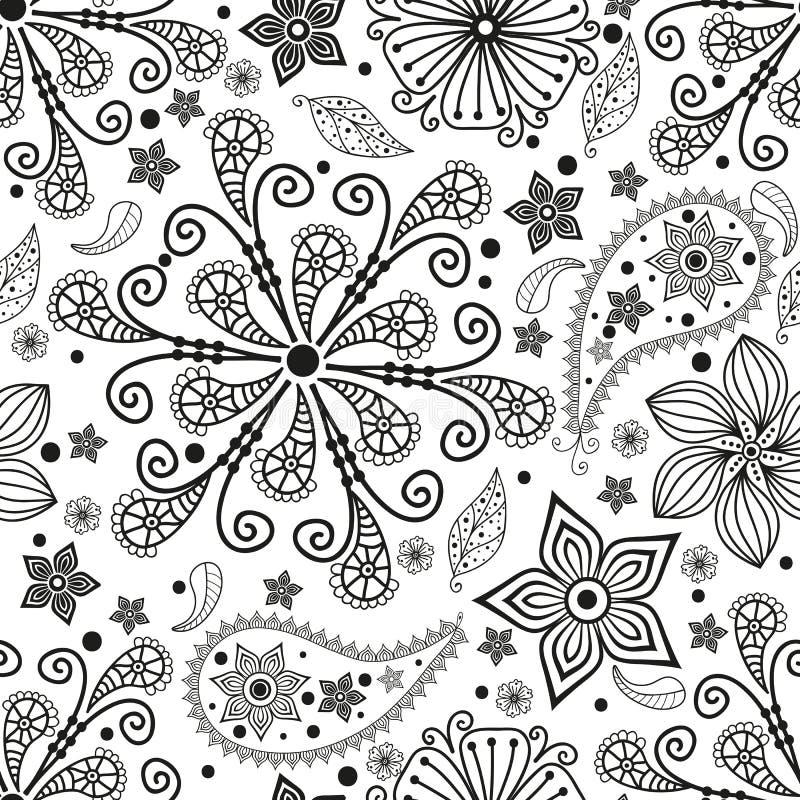 Modèle monochromatique sans couture avec Paisley illustration de vecteur