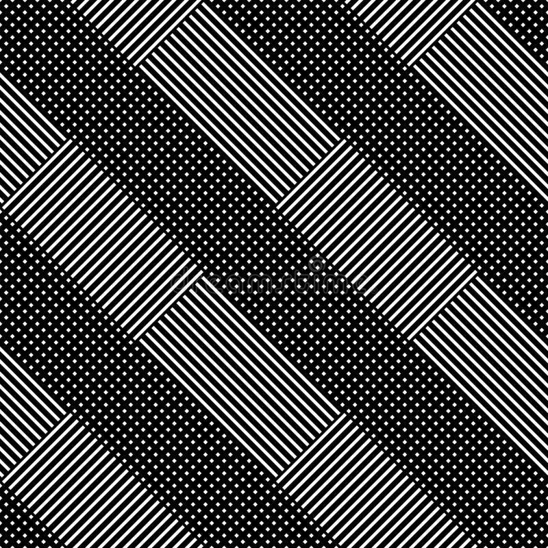 Modèle monochrome abstrait géométrique (qu'on peut répéter) sans couture jusqu'à illustration stock