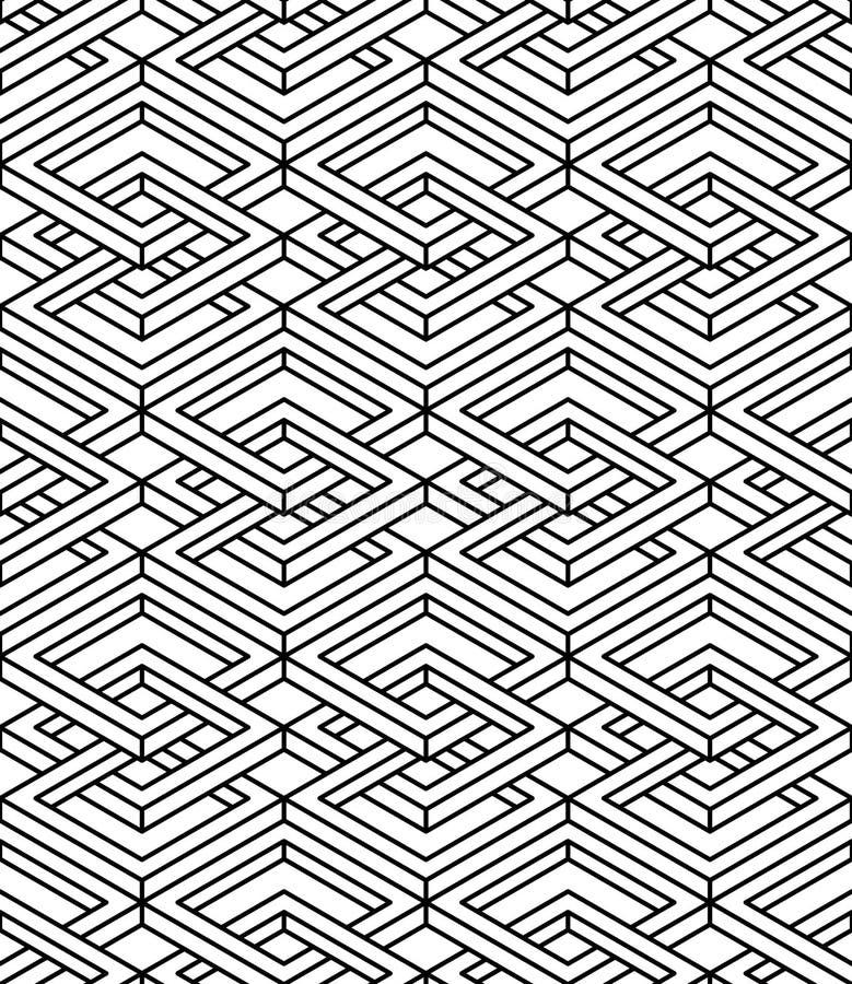 Modèle monochrome continu trompeur, dos décoratif de résumé illustration libre de droits