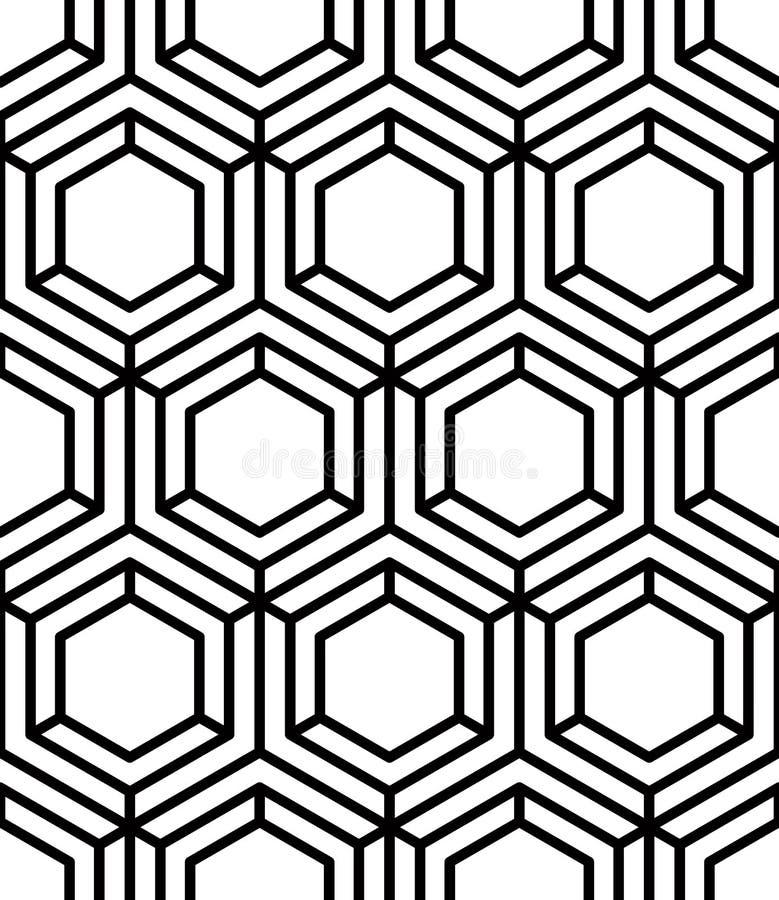Modèle monochrome continu trompeur, résumé décoratif illustration stock
