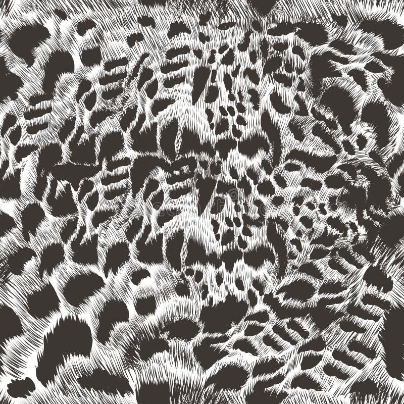 Modèle monochrome de cheveux de léopard de vecteur dans le style tiré par la main détaillé de haute photo stock