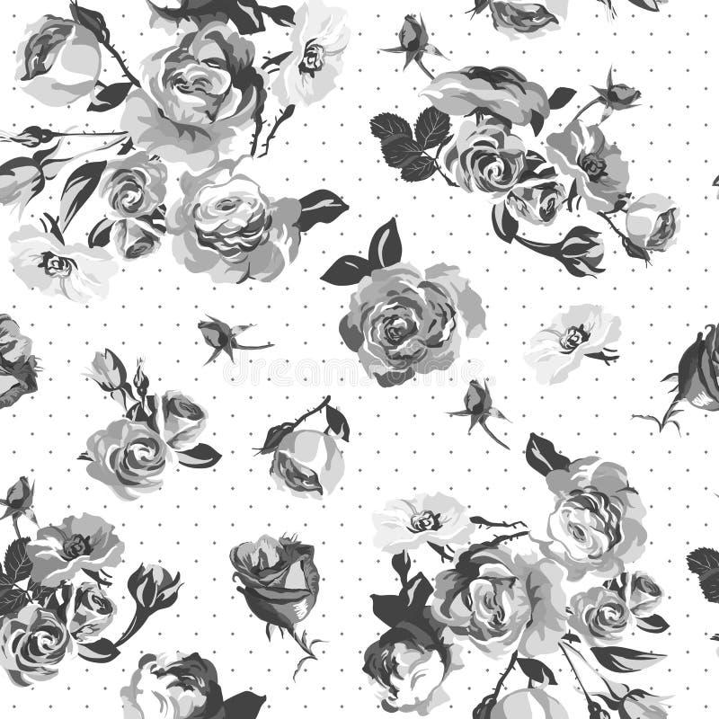 Modèle monochrome de roses de vintage illustration stock