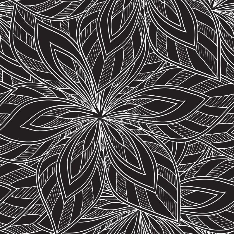 Modèle monochrome floral abstrait sans couture de vecteur illustration libre de droits