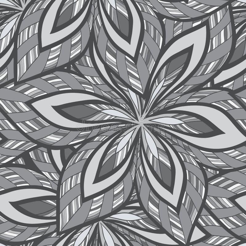 Modèle monochrome floral abstrait sans couture de vecteur illustration de vecteur
