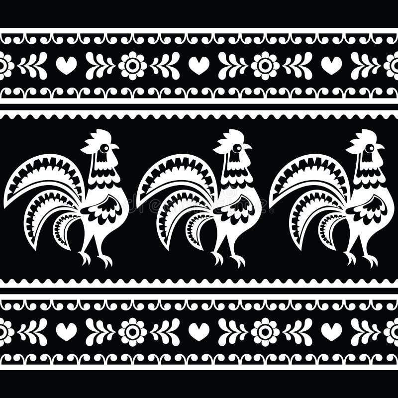 Modèle monochrome polonais sans couture d'art populaire avec des coqs illustration libre de droits