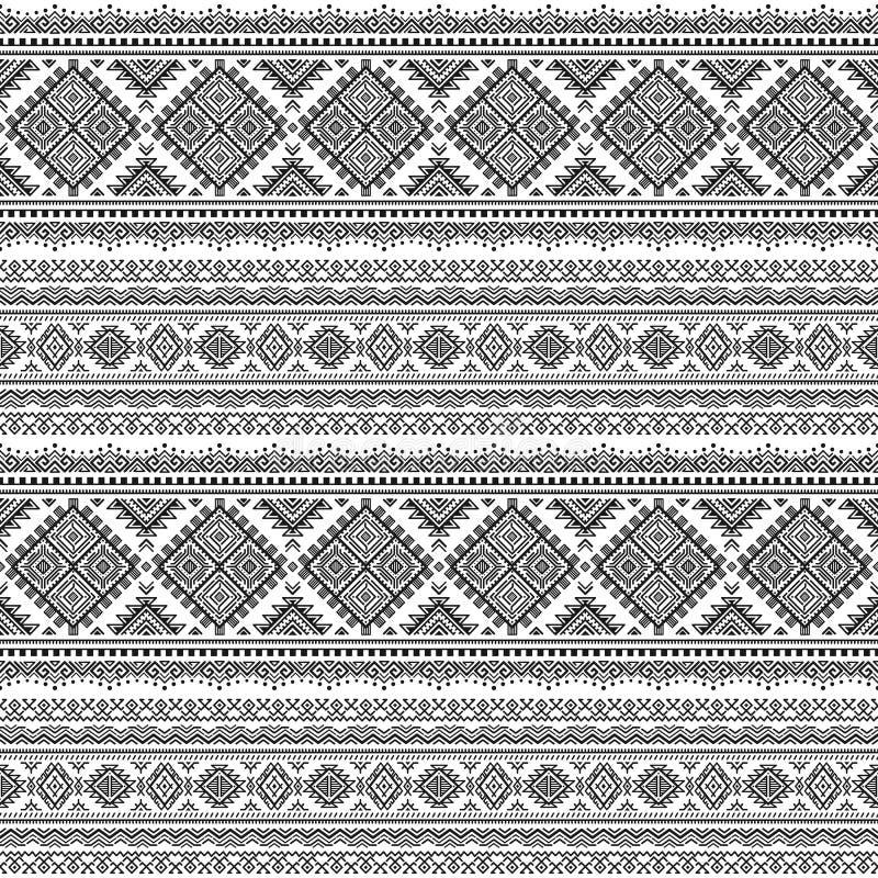 Modèle monochrome rayé sans couture ethnique illustration libre de droits