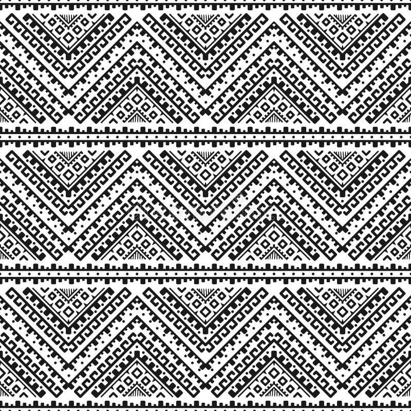 Modèle monochrome rayé sans couture ethnique illustration de vecteur