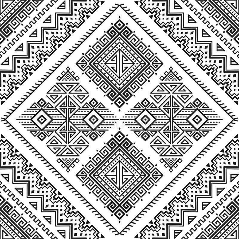 Modèle monochrome rayé sans couture ethnique illustration stock